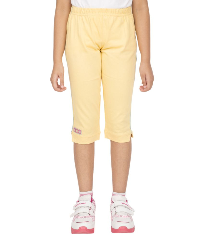 Ocean Race Yellow Cotton Solids Capri