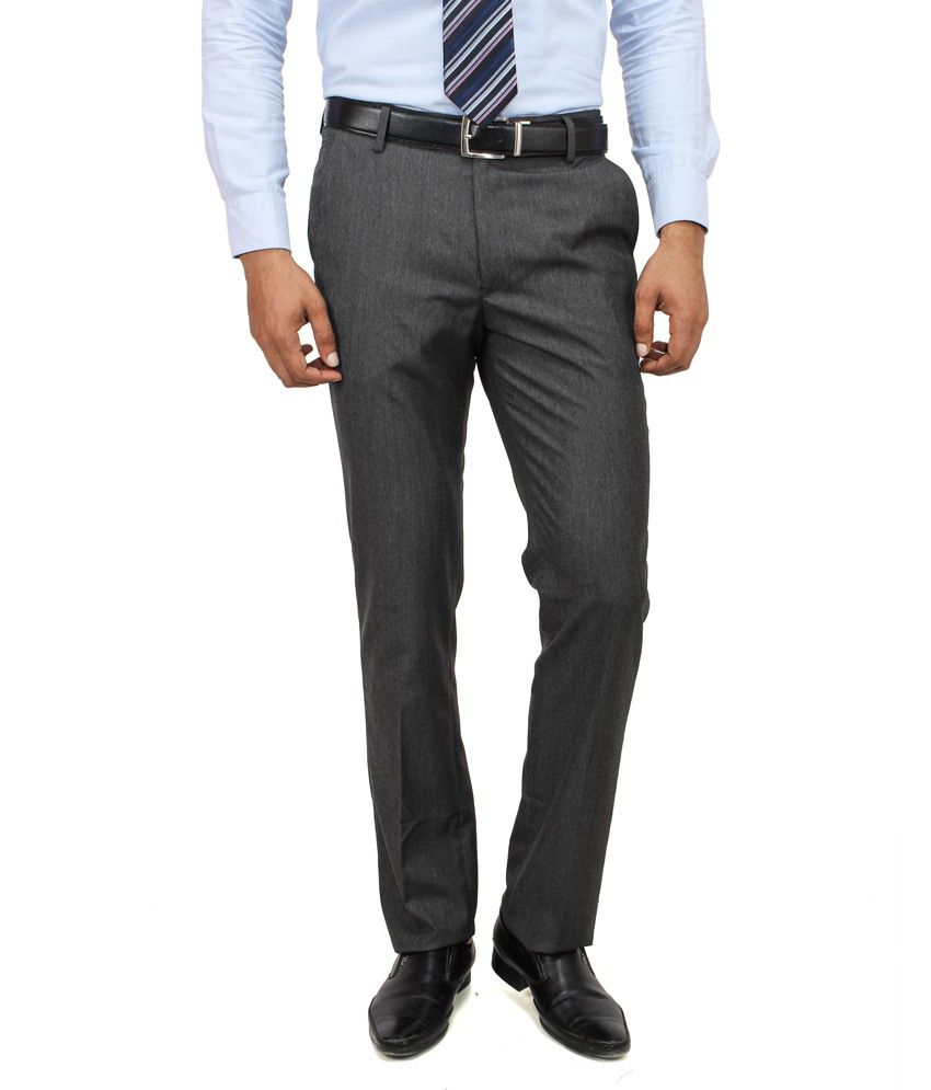 Yuvi Grey Poly Viscose Trousers