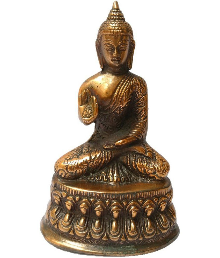 Being Nawab Meditating Brass Metal Buddha Showpiece