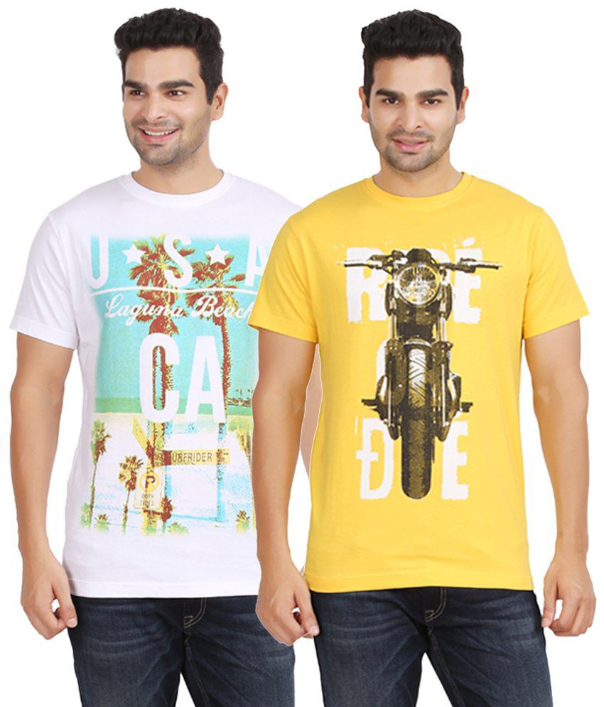 Kryo Appealing Pack of 2 White & Yellow T Shirts for Men