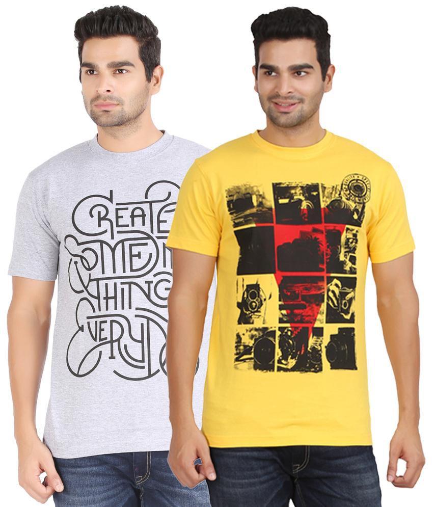 Kryo Trendy Pack of 2 Gray & Yellow T Shirts for Men