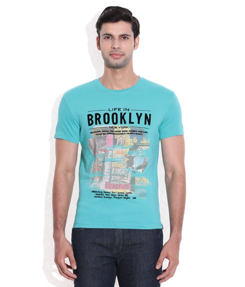 Lee Blue Printed Round Neck T-Shirt