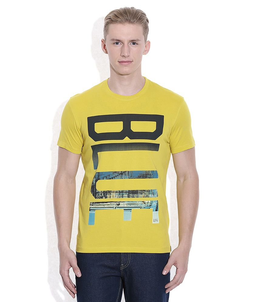 Lee Lime Yellow Printed Round Neck T-Shirt