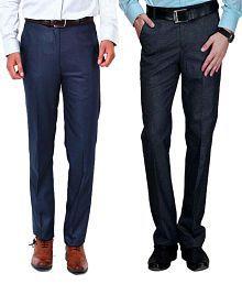 Ad & Av Pack Of Two Premium Formal Trouser (Blue & Black )