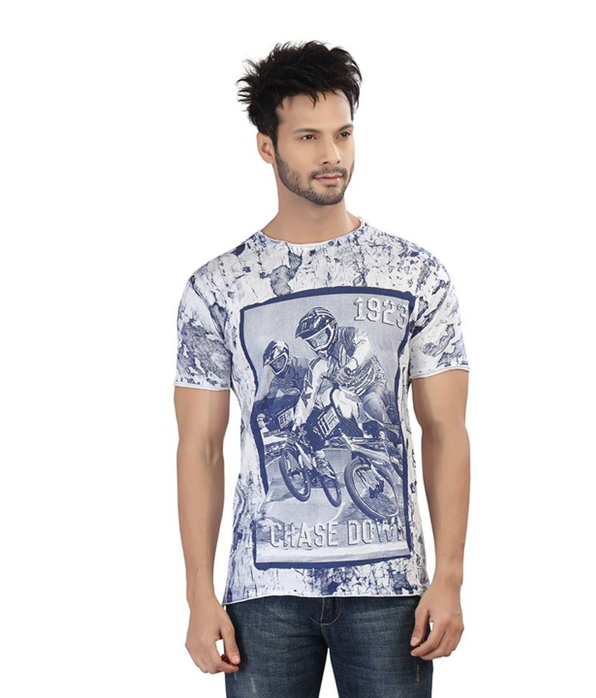 Afylish Printed Blue Rugged Look  Round Neck Mens T-Shirt - Supima Cotton