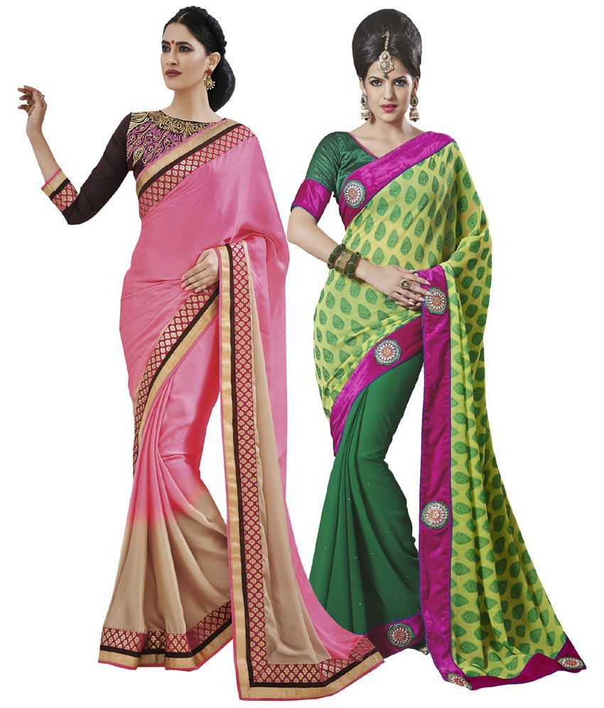 Indian Women Multi Semi Chiffon Pack of 2