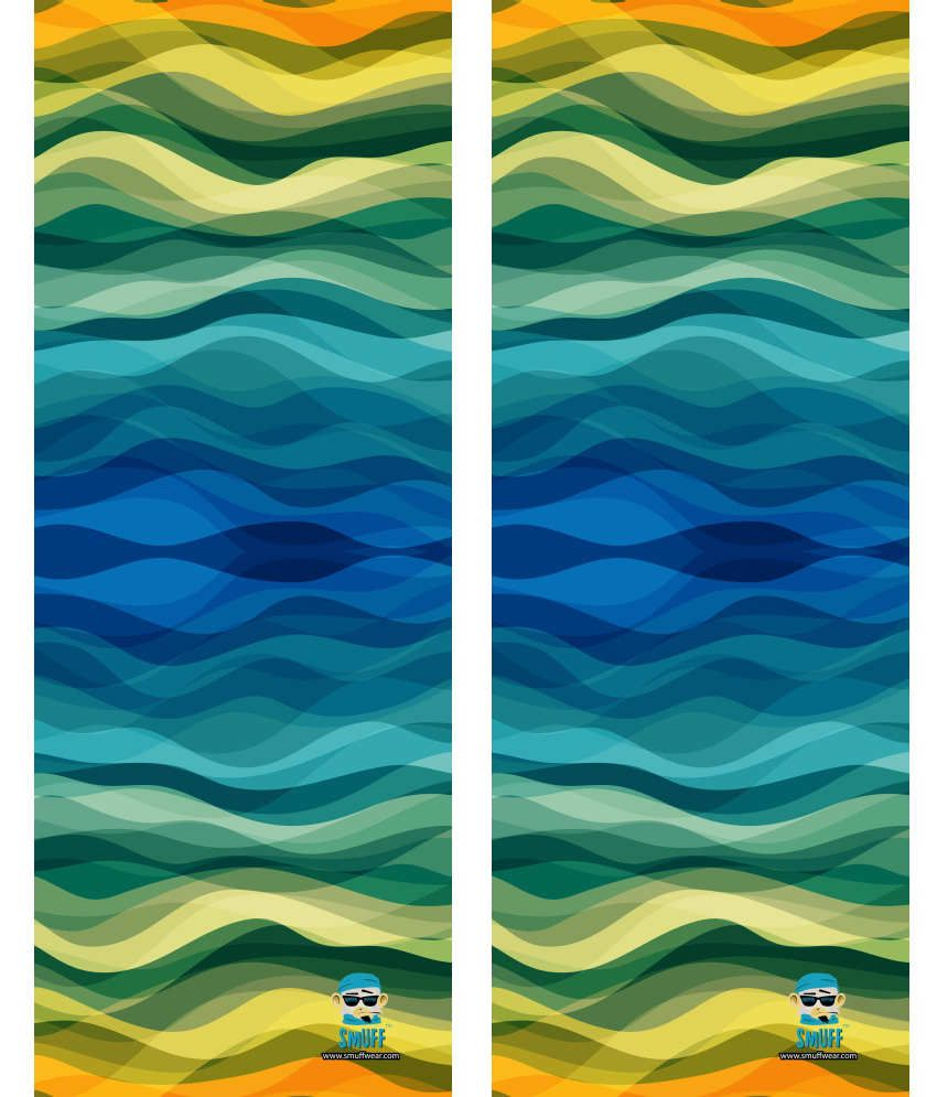 SmuffWear Green And Blue Polyester Head Wrap (Combo of 2)