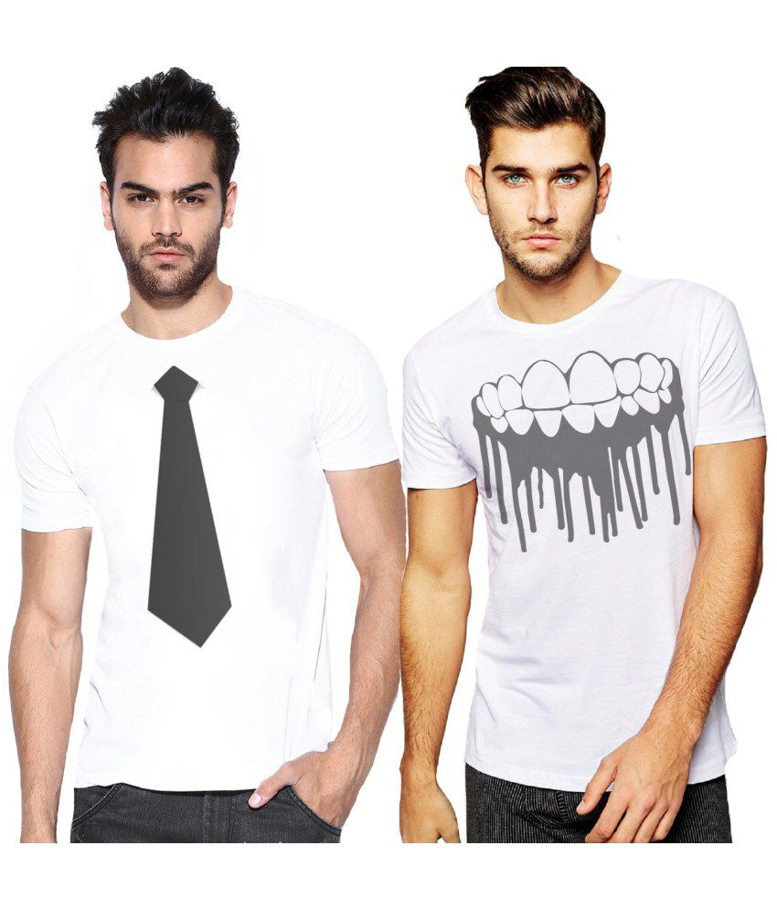 Alpha Scott White Polyester T-shirt Set Of 2