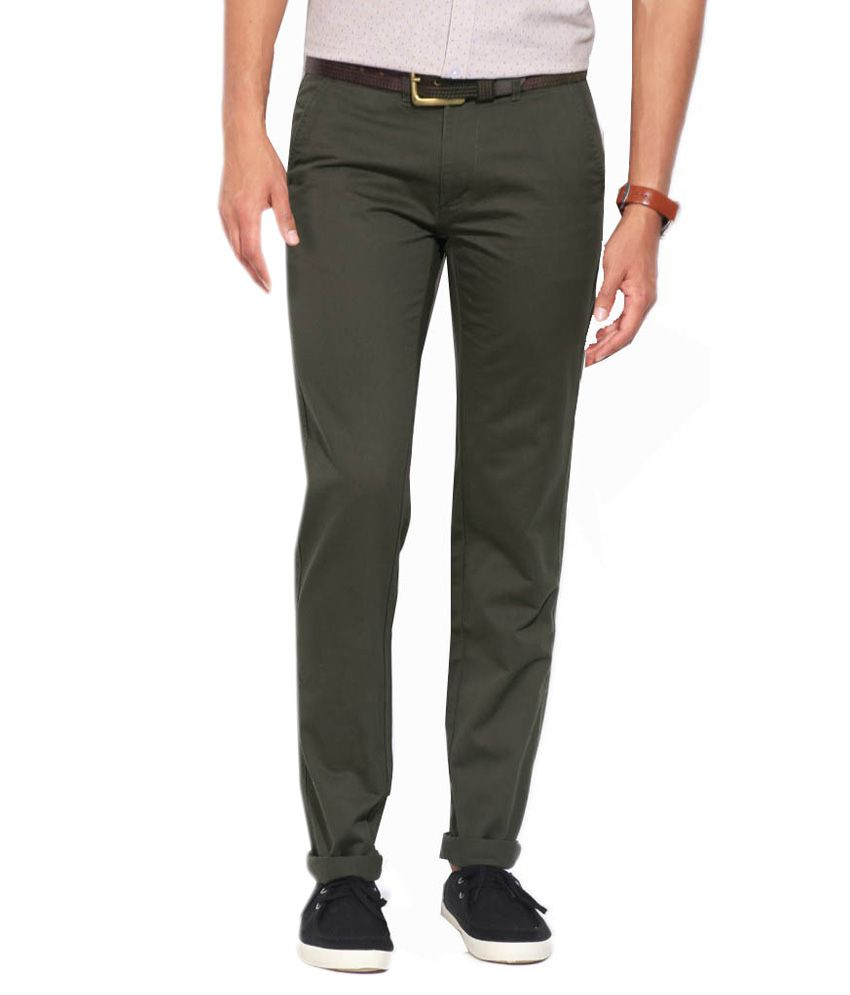 East West Green Cotton Slim Fit Chinos