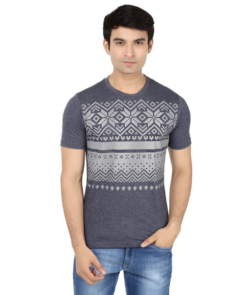 Minute Merge Gray Cotton Printed T-shirt