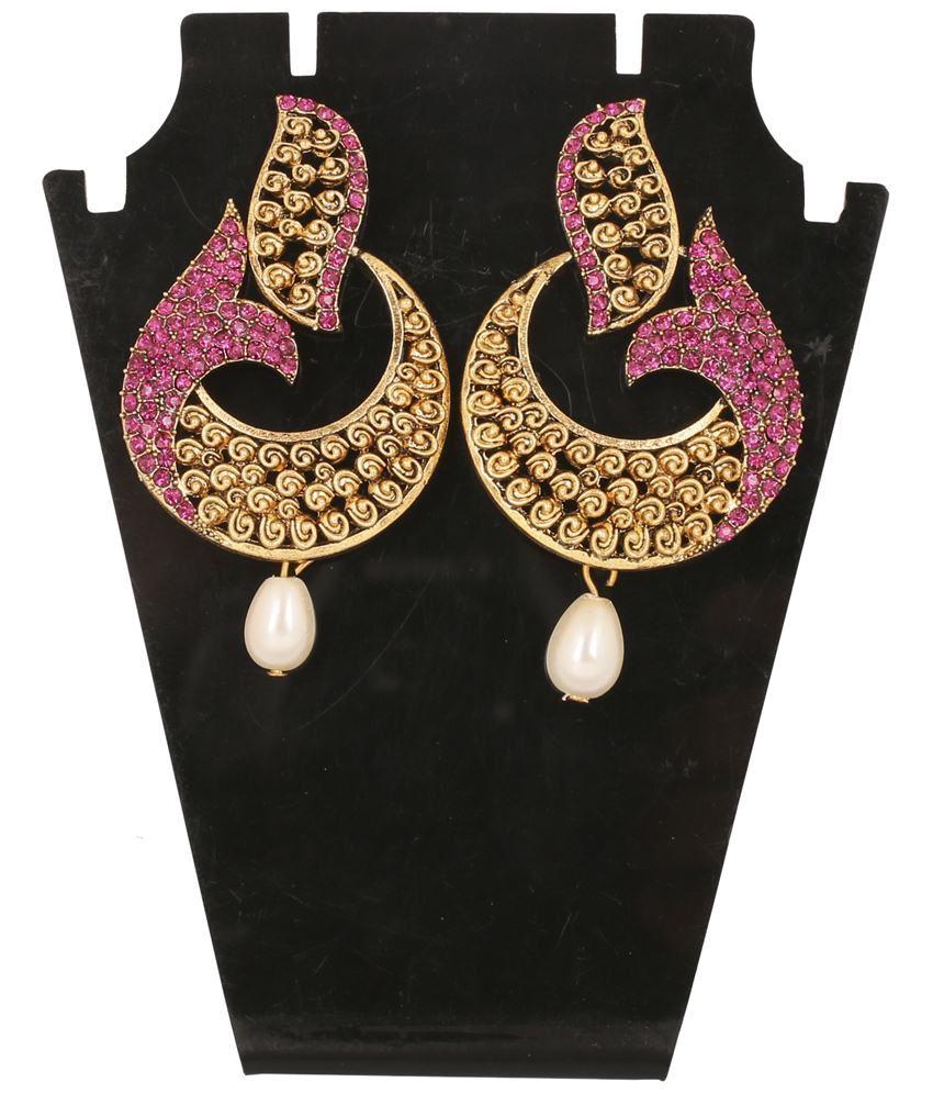 Touchstone Elegant Gold Plated Hanging Earrings