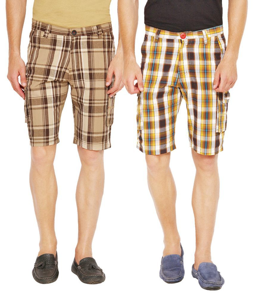 Wajbee Beige and Brown Cotton Check Shorts - Pack of 2