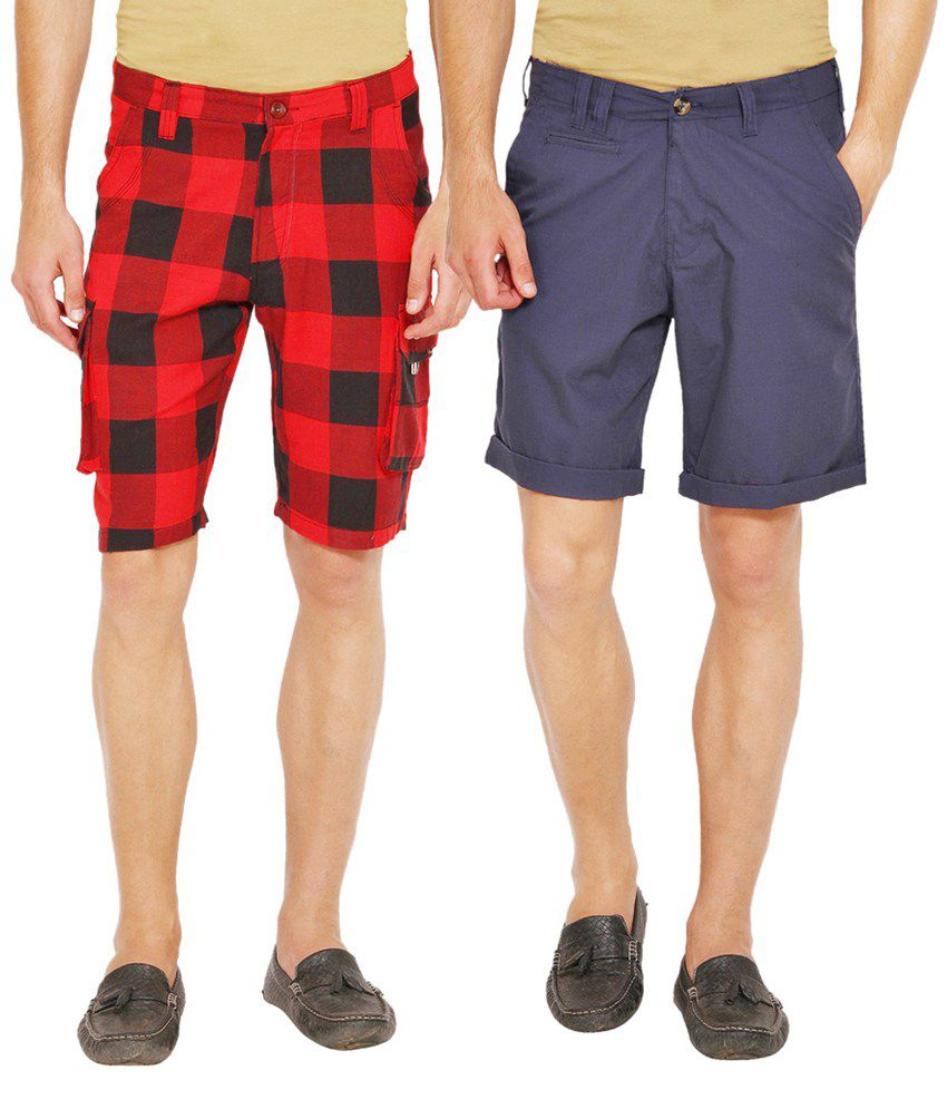 Wajbee Purple and Red Cotton Check Shorts - Pack of 2