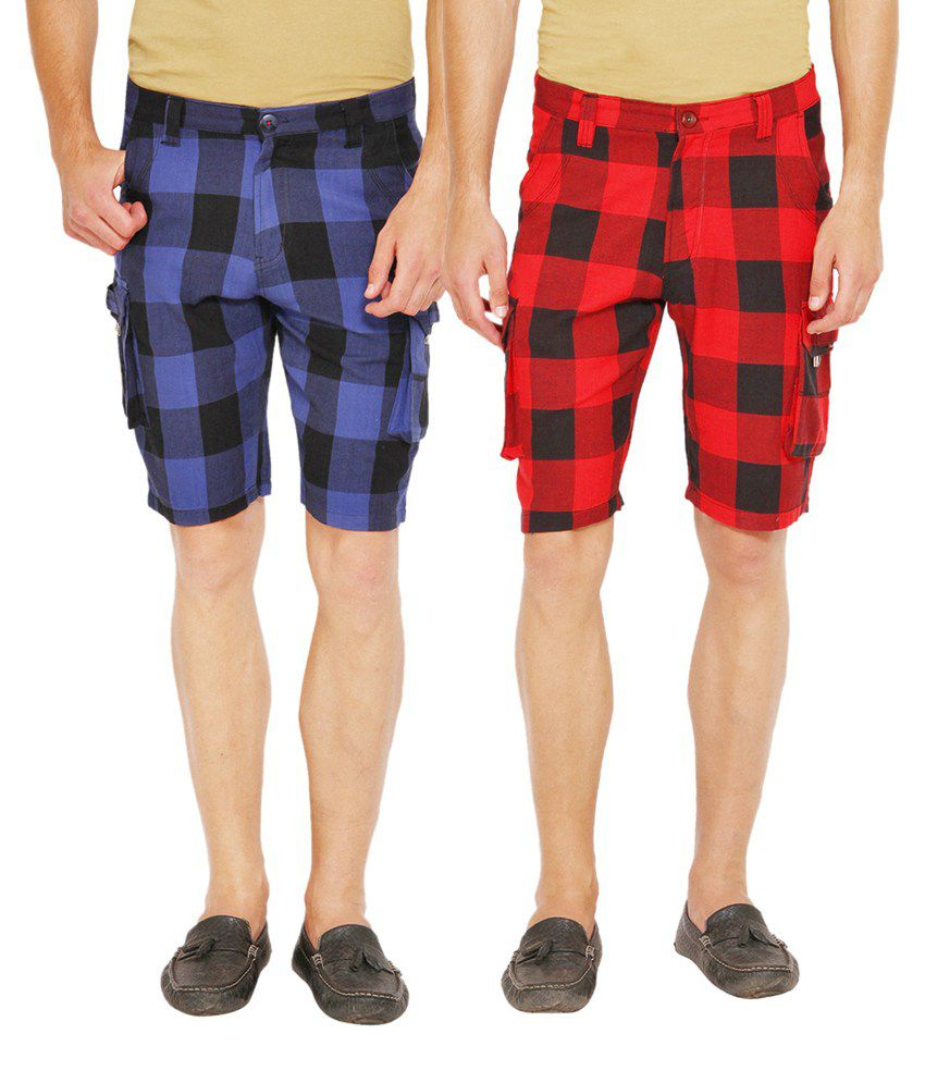 Wajbee Red and Blue Cotton Check Shorts - Pack of 2
