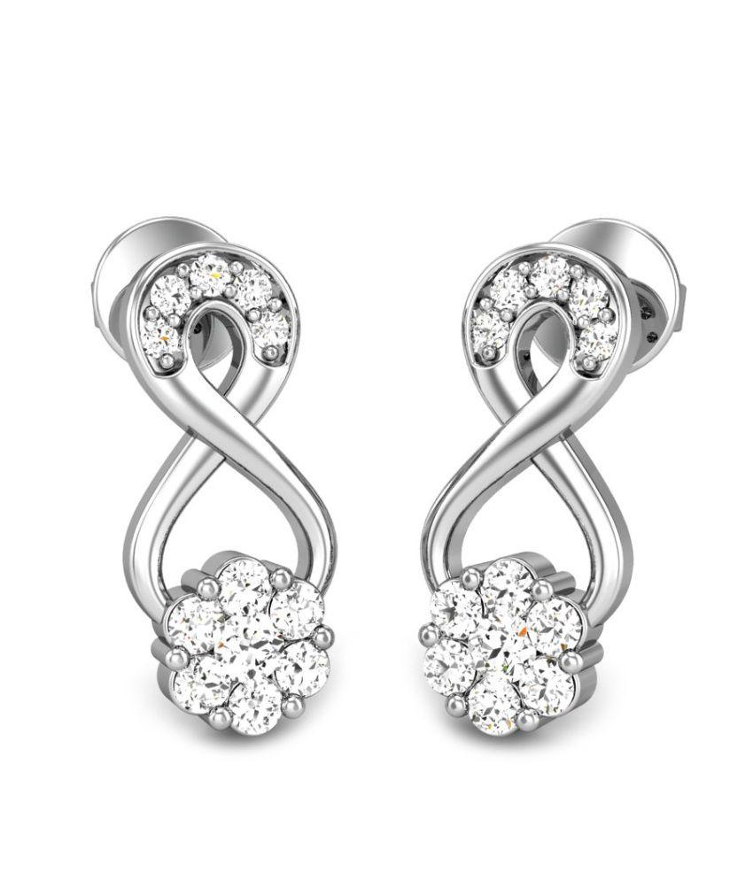 Candere Rising Star White Gold 14K Diamond Earrings