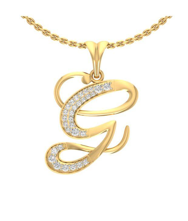 jewels5 g letter diamond studded gold pendant