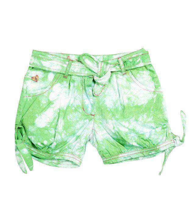 UFO Green Cotton Printed Shorts