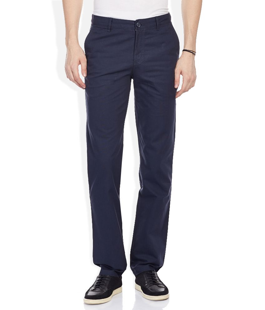 Wills Lifestyle Blue Slim Fit Trousers