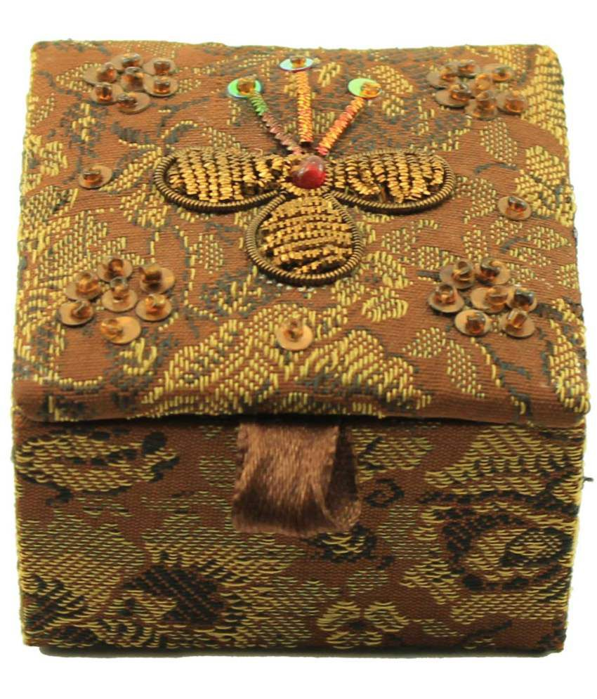 Zari Boxes Square Shape Brown Jacquard Fabric Stores and 2.5x2.5 Inch Box