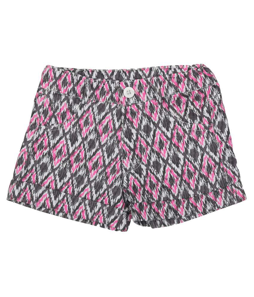 Addyvero Pink And Gray Denim Shorts