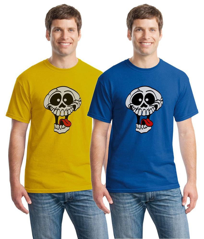Inkvink Clothing Conventional Pack of 2 Blue & Yellow Comic T Shirts for Men