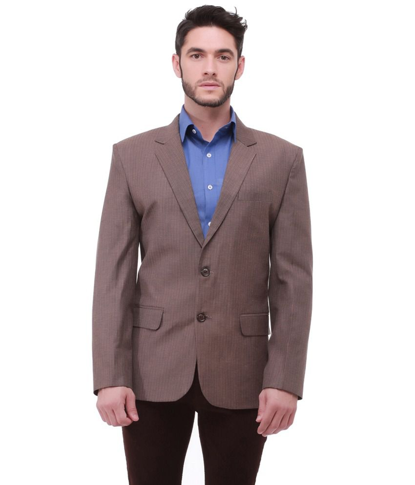 Jogur Gray Cotton Blend Formal Blazer