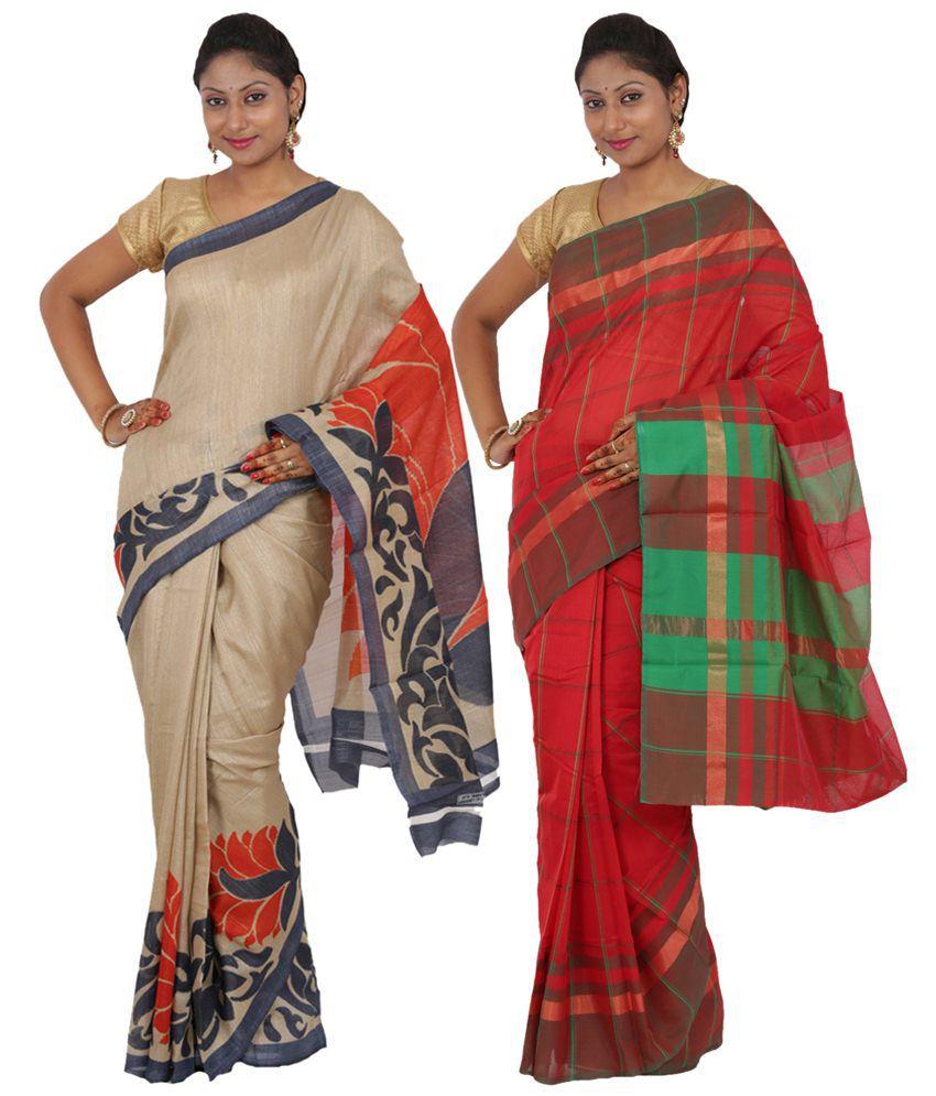 Maharaja Fashion Beige & Red Art Silk Pack of 2