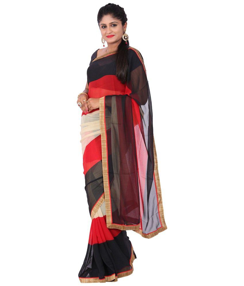 Maharaja Fashion Black & Blue Art Silk Pack of 2