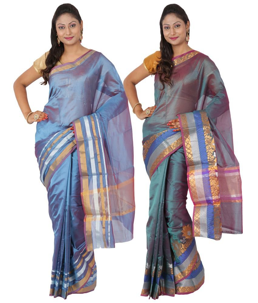 Maharaja Fashion Blue & Turquoise Art Silk Pack of 2