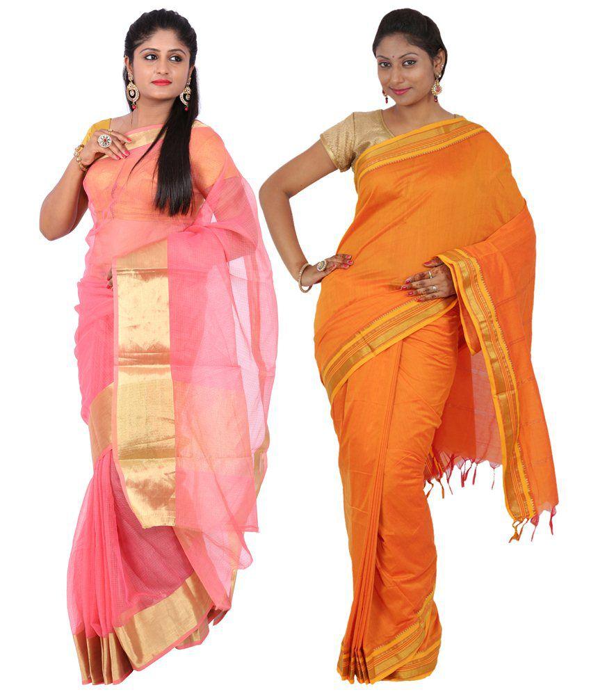 Maharaja Fashion Orange & Pink Art Silk Pack of 2
