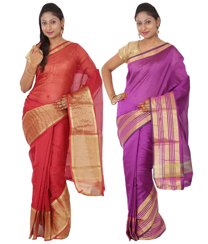 Maharaja Fashion Purple & Red Art Silk Pack of 2