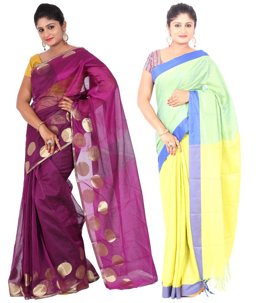 Maharaja Fashion Yellow & Purple Art Silk Pack of 2