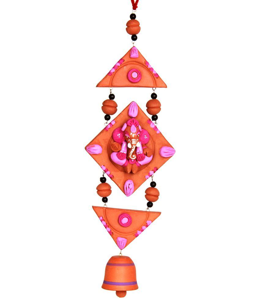 Adaa Terracotta Hand Painted Wall Hanging Ganesha - Pink