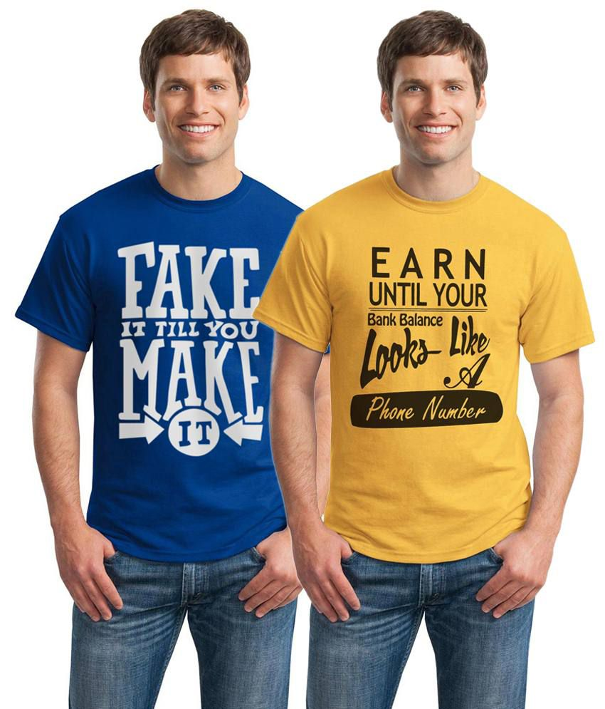 Inkvink Clothing All Time Pack of 2 Yellow & Blue T Shirts for Men
