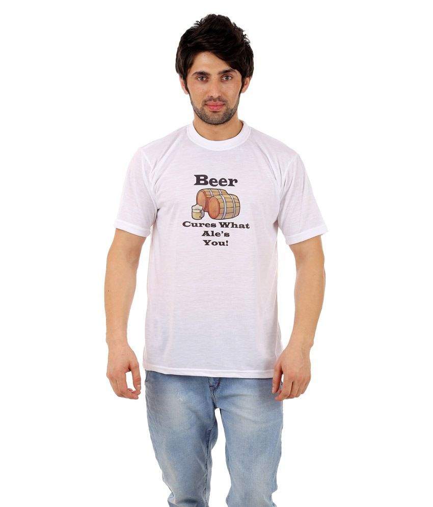 Zegi Stunning White & Brown Round Neck T Shirt for Men