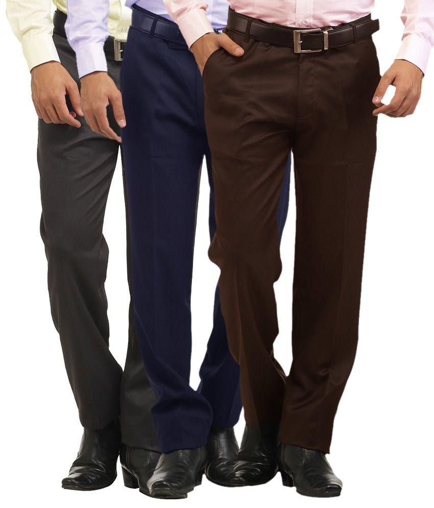 Inspire Clothing Inspiration Big Size Pack Of 3 Formal Trousers (Blue, Coffee & Gray)