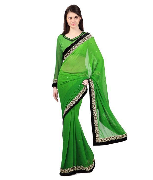 Janasya Green Faux Georgette Saree