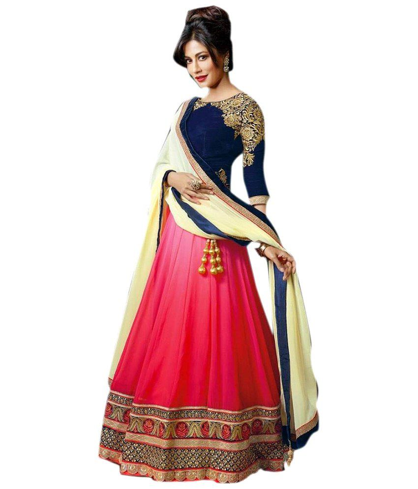 00685fc2eb Lucky Infra Red and Beige Faux Georgette Lehenga - Buy Lucky Infra Red and Beige  Faux Georgette Lehenga Online at Best Prices in India on Snapdeal