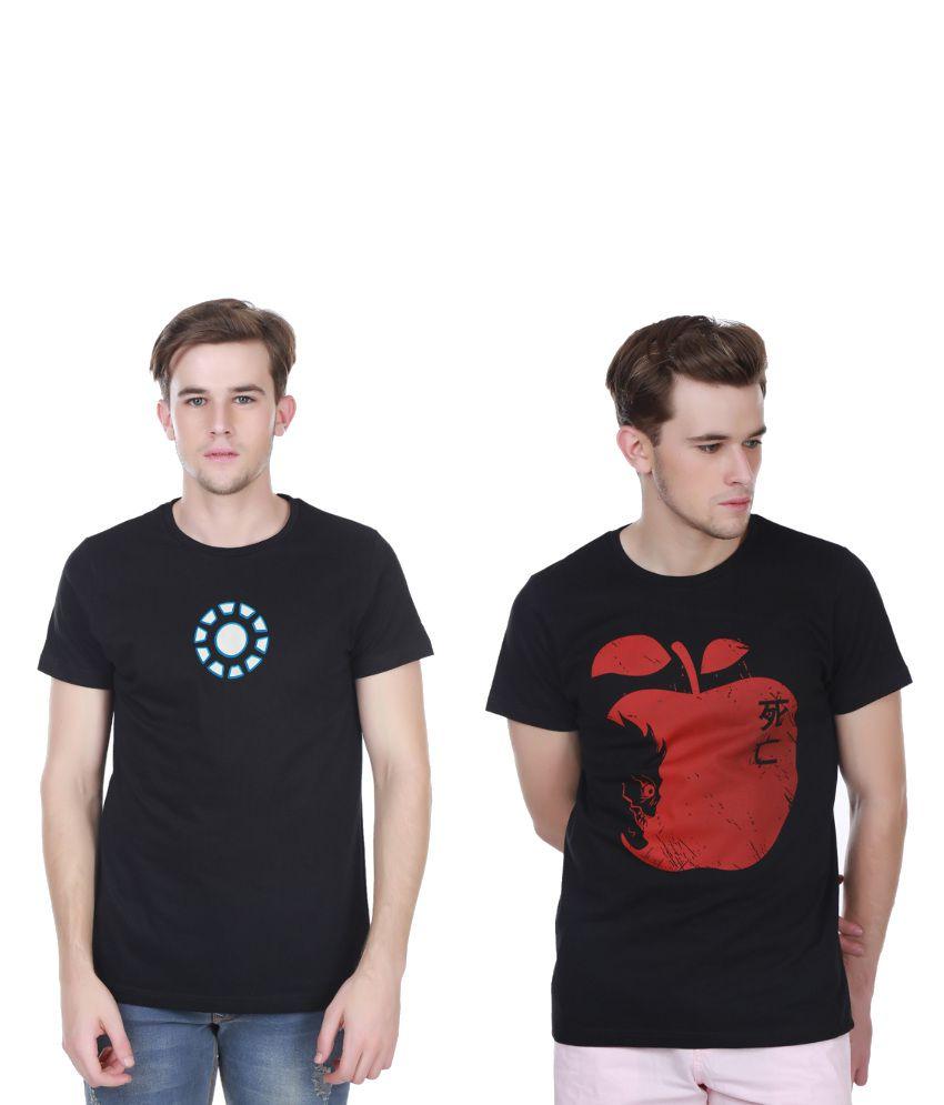White Kalia Combo Of Black Cotton T-shirts