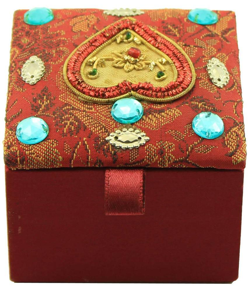 Zari Boxes Square Shape Red Color Satin Fabric Belongings And Charms Box