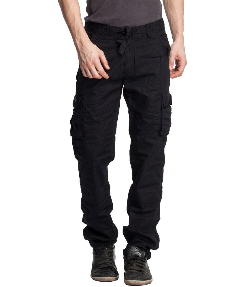 Beevee Black Regular Cargos Trouser