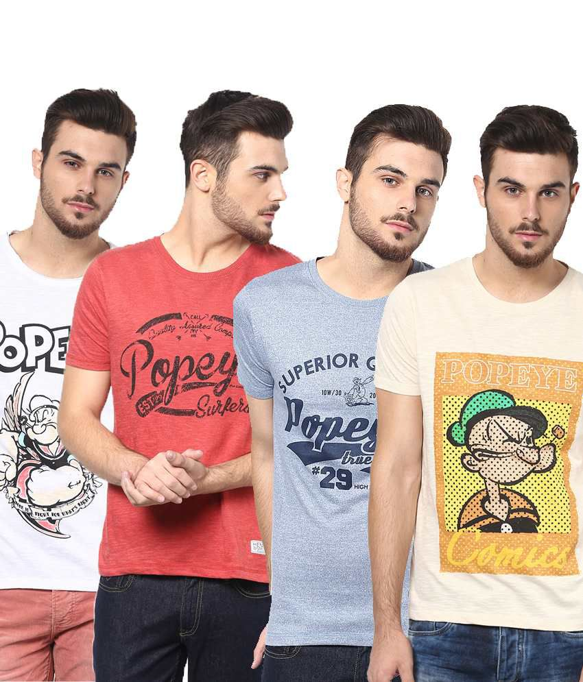 Henry and Smith Enticing Multicolour Pack of 4 Cotton T Shirts for Men