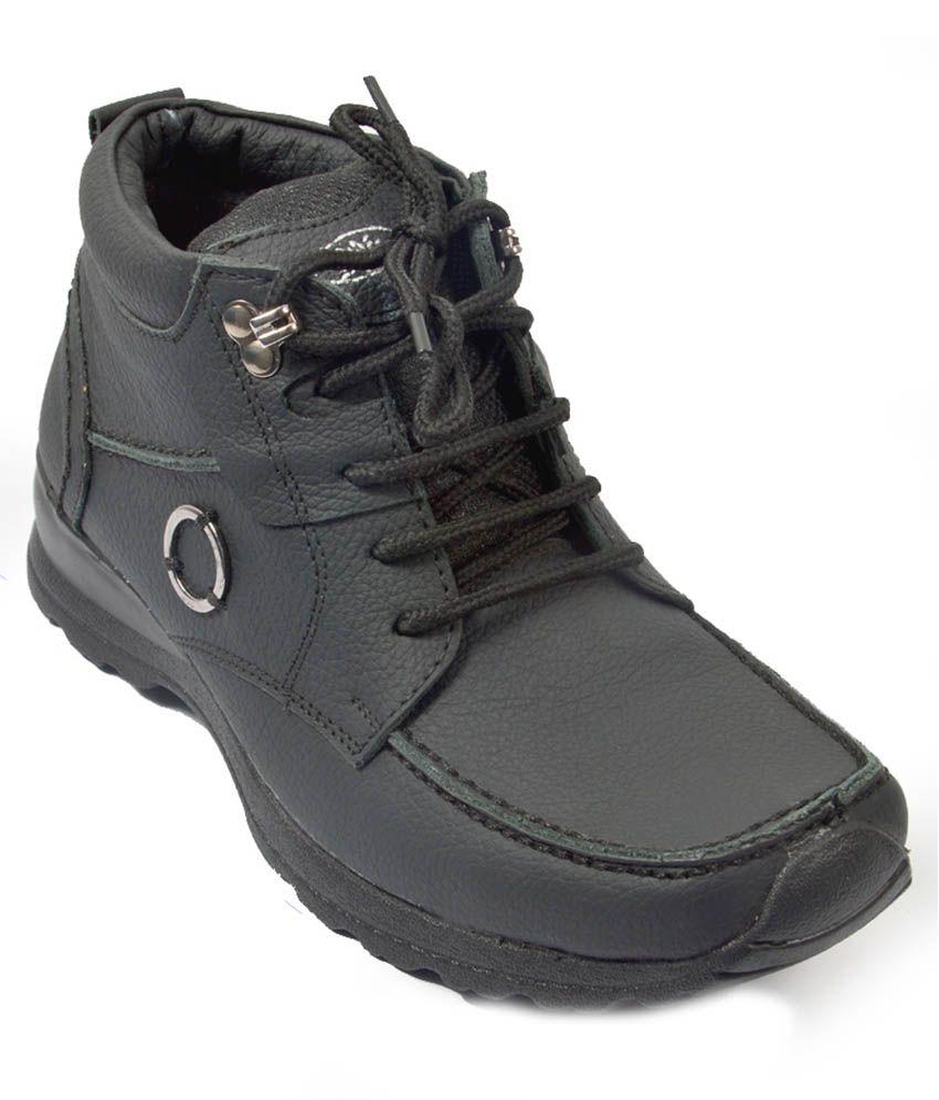 Lee Grip Black Leather Lace Men Boots