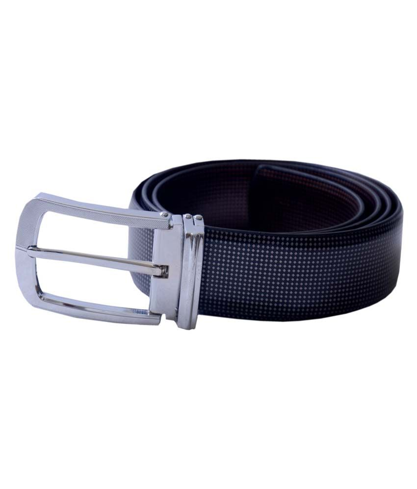 Master Belts Black Italian Leather Reversible Formal Belt For Men