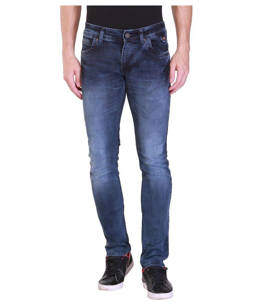 Vintage Navy Cotton Slim Jeans For Men