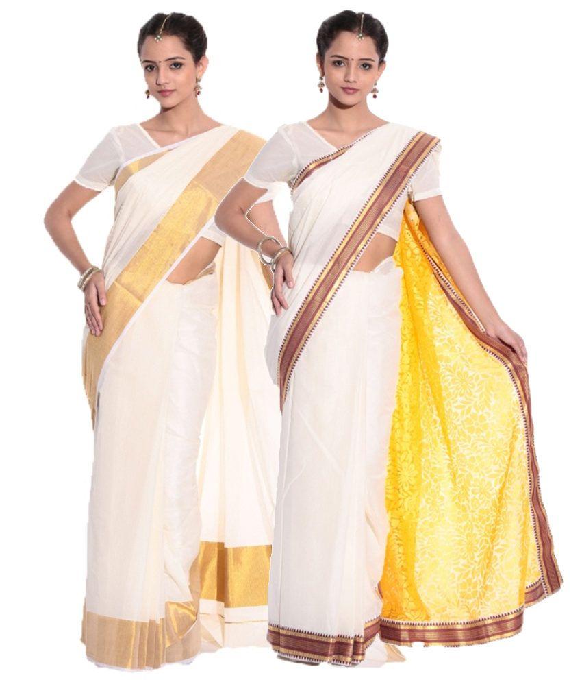 Fashion Kiosks GhostWhite and Yellow and Yellow Cotton Saree