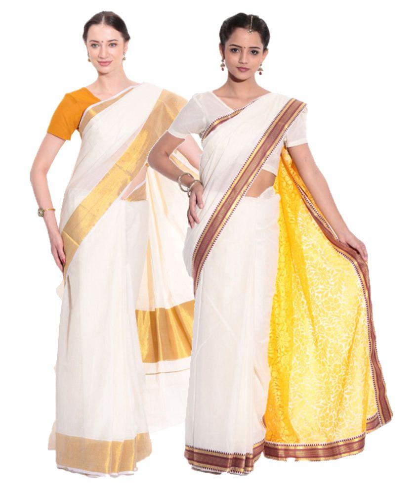 6add17bea9 Fashion Kiosks GhostWhite and Yellow and White Cotton Saree - Buy Fashion  Kiosks GhostWhite and Yellow and White Cotton Saree Online at Low Price ...