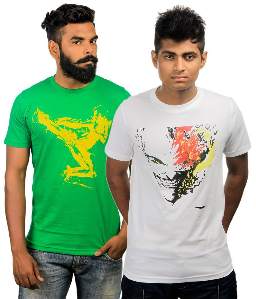 Paradigm Pack of 2 White & Green T Shirts for Men