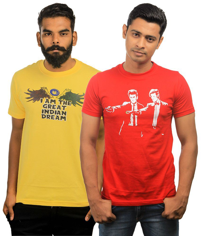Paradigm Wonderful Pack of 2 Yellow & Red T Shirts for Men
