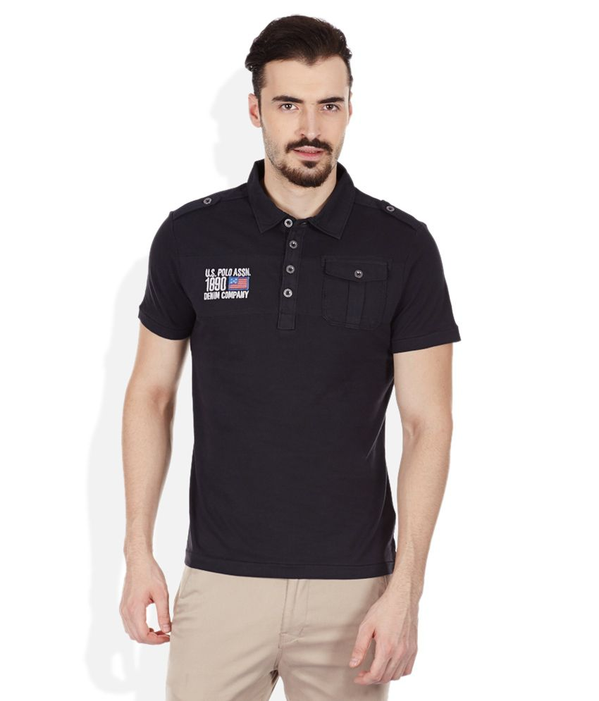U.S. Polo Assn. Black Polo Neck T Shirt